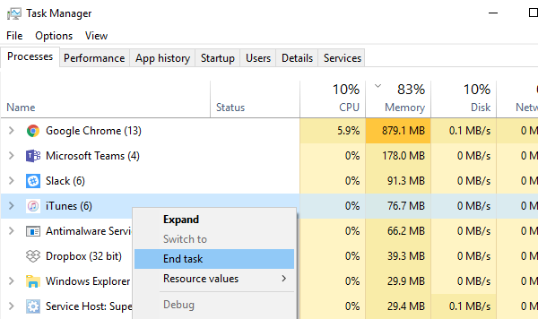 Kill iTunes from Task Manager