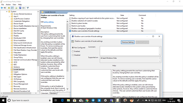 Prevent users from changing time group policy method