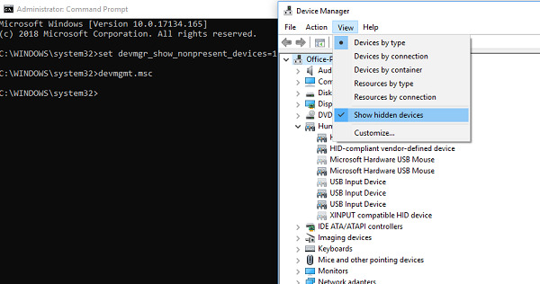 Show Hidden Devices in Device Manager