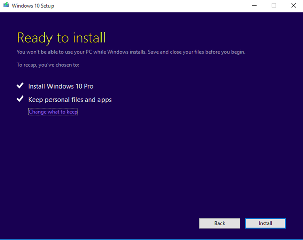 Windows 10 stuck at Ready to install
