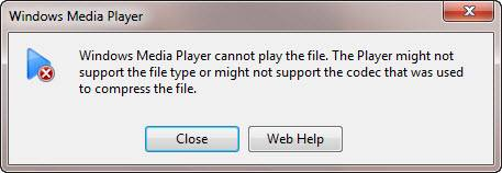 Windows Media Player cannot play the file