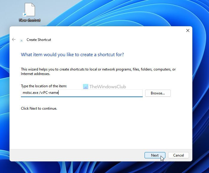 How to create Remote Desktop Connection shortcut for specific pc