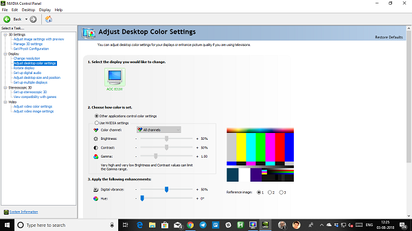 reset display color settings to default in Windows 10