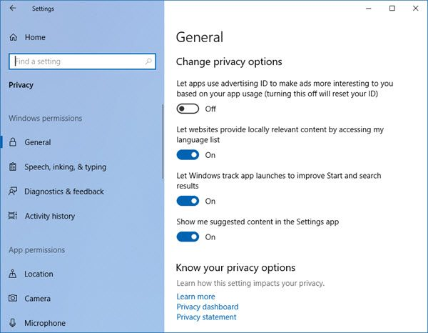turn off ads in settings windows 10