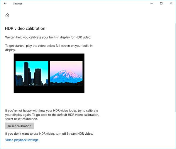 Calibrate display for HDR video in Windows 10