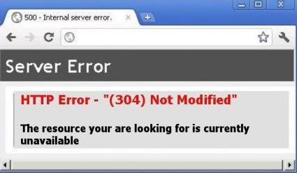HTTP Error 304 Not modified