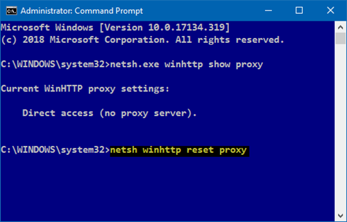 Reset WinHTTP Proxy Settings