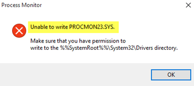 Unable to write PROCMON23 sys