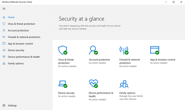 Windows Defender Action Needed or Recommended