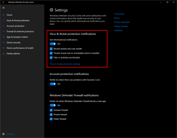 Disable Windows Defender Summary Notifications