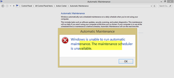 Windows is unable to run Automatic Maintenance