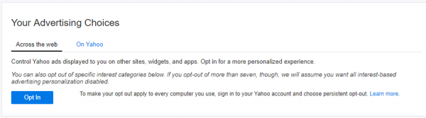 Stop Yahoo from displaying personalized ads