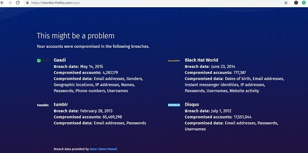 Firefox Monitor checks if your data was breached