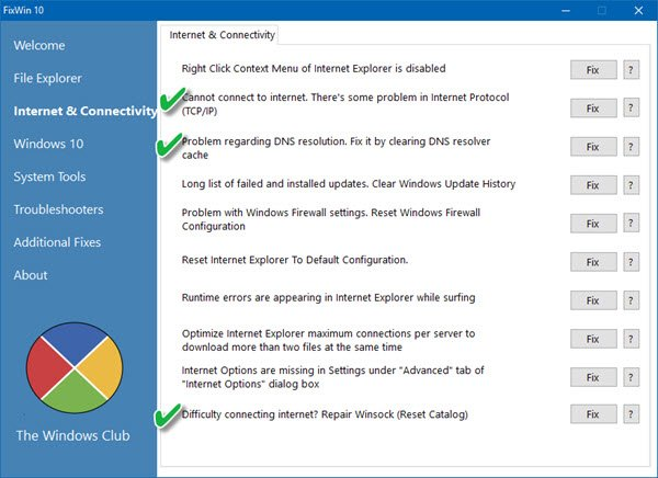 TWC tool to resolve Internet and Connectivity issues in Windows 10