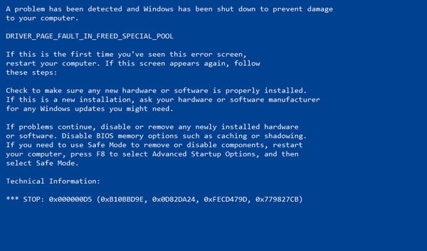 DRIVER_PAGE_FAULT_IN_FREED_SPECIAL_POOL in Windows 10