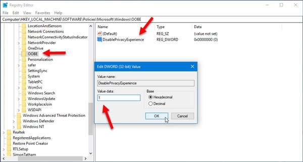 Disable Privacy Settings Experience at sign-in in Windows 10