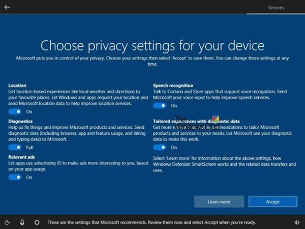 Disable Privacy Settings Experience at sign-in