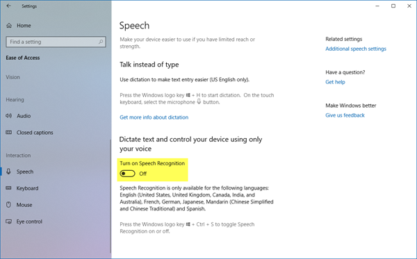 Disable Speech Recognition in Windows 10