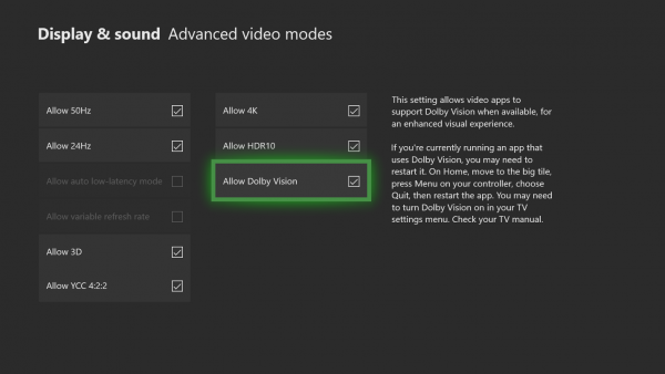 enable Dolby Vision on Xbox