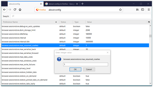 Disable Session Restore Crash Recovery in Firefox