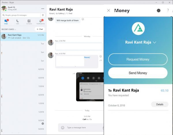 Send Money to Contacts using Skype