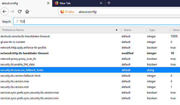 Change TLS Settings in Firefox