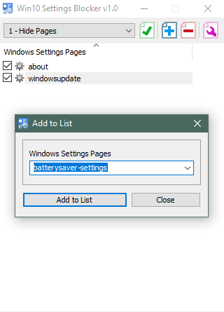 Disable or block Windows Settings Pages using Win10 Settings Blocker