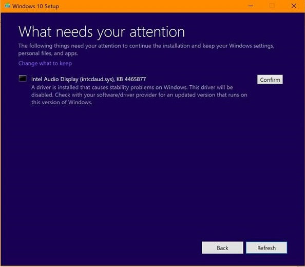 What needs your attention Windows 10 setup notification