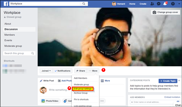 create a Facebook Group on a Business page