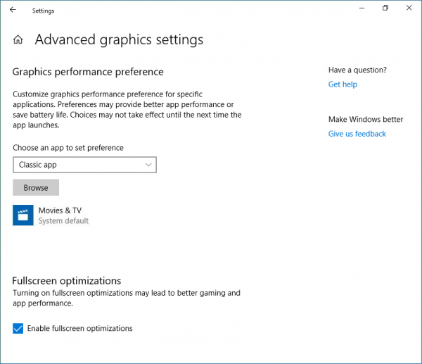Enable or disable Full-screen optimizations on Windows 10