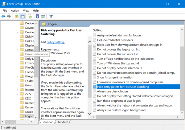Enable or Disable Fast User Switching in Windows 10
