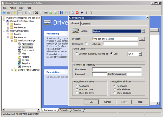 Group Policy for Drive Maps
