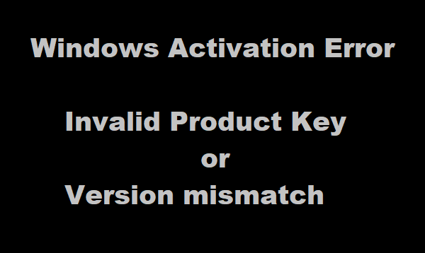: Invalid Product Key or Version mismatch