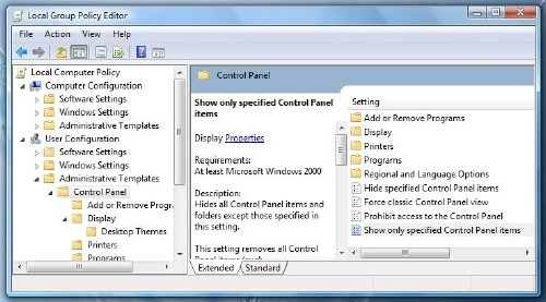 Remove or Hide Control Panel Applets 1
