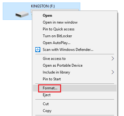 Right click on the USB drive and select Format