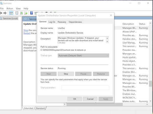 Disable Windows Orchestrator Service