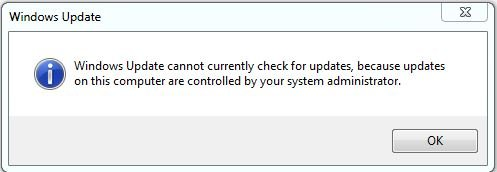 Windows Update cannot currently check for updates because updates on this computer are controlled