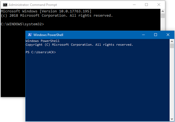 Command Prompt and Windows PowerShell