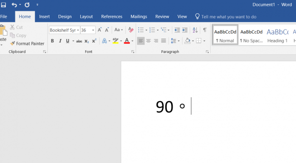 Type degree symbol on Windows 10