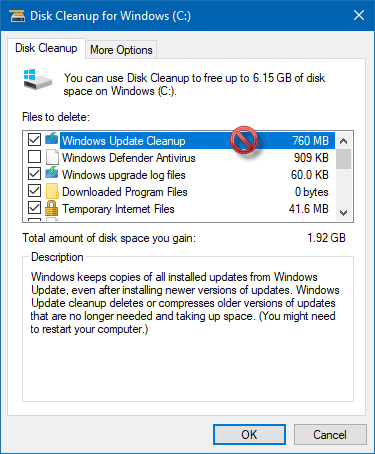 Disk Cleanup is stuck on Windows Update Cleanup