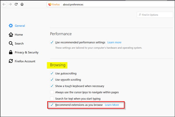 disable Extension Recommendations in Firefox