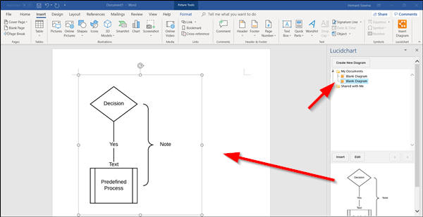 Lucidchart flowchart in Word
