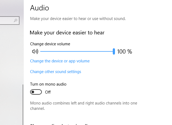 Mono Audio Ease of Access Settings Windows