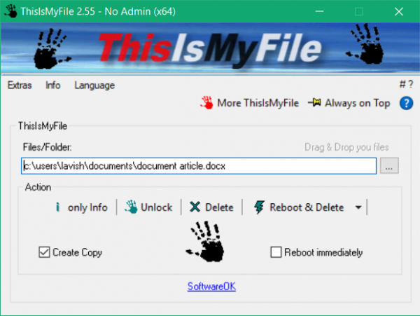Unblock or delete locked or protected files on Windows using ThisIsMyFile