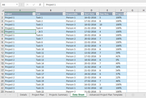 track multiple projects in Microsoft Excel