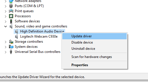 Update Audio Driver in Windows 10