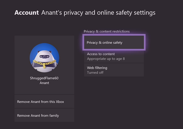 Xbox Kids Account Privacy and Online Safety