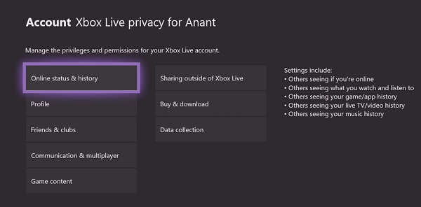 Xbox Live Privacy Settings for Kids
