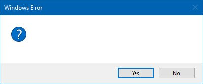 Empty or blank dialog boxes with no text