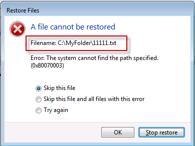 Missing File Directory during Restore